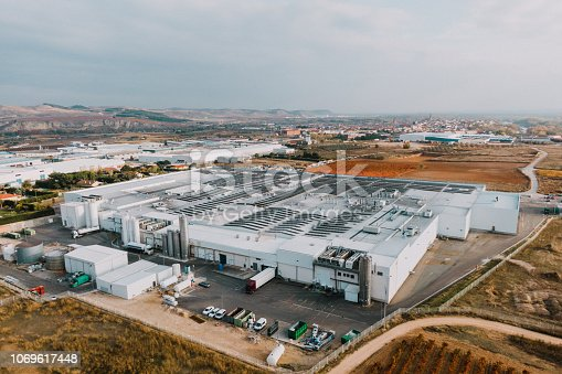 An above view of a large manufacturing factory