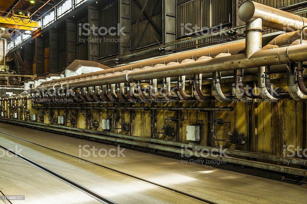 Factory interior, heavy industry stock photo