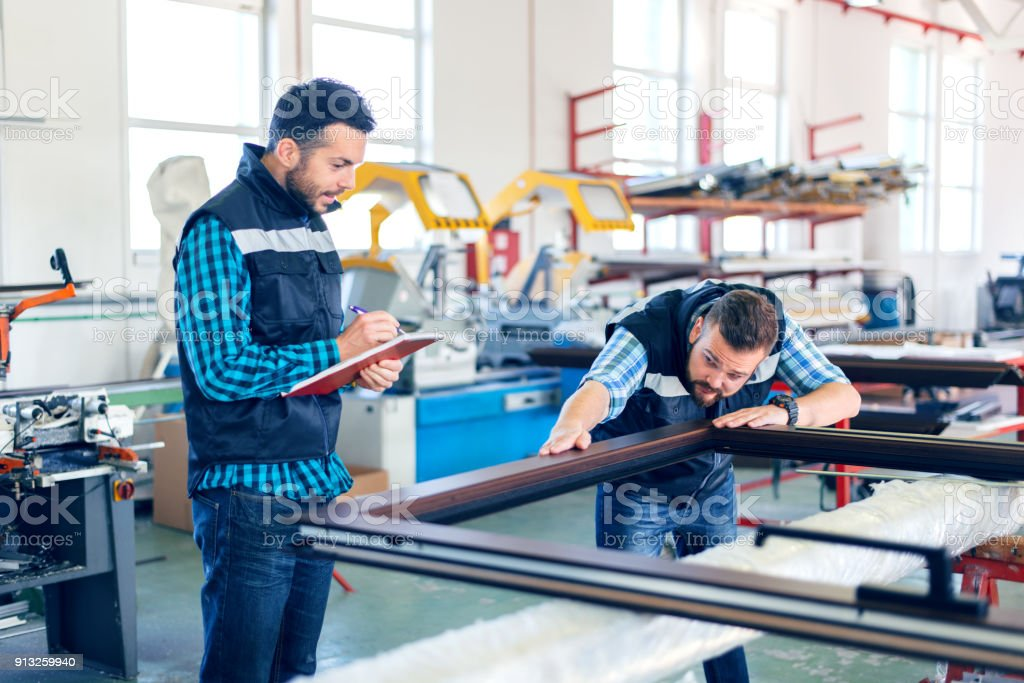 Factory interiors for manufacturing PVC windows and doors stock photo