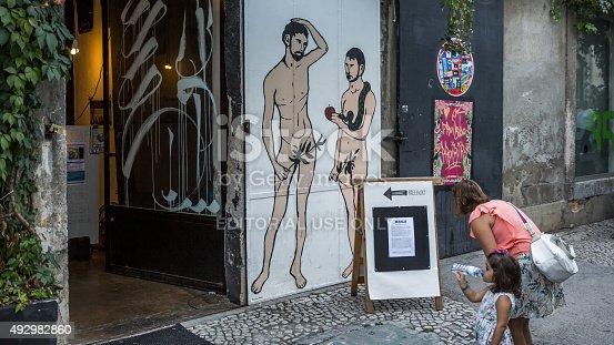 Lisbon, Portugal - September 20, 2015: An alternative interpretation og Genesis - Adam and Steve - depicted on a wall in LX Factory in Lisbon, Portugal.