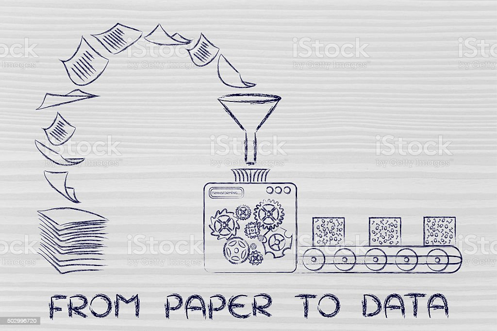 factory machines turning documents into data stock photo