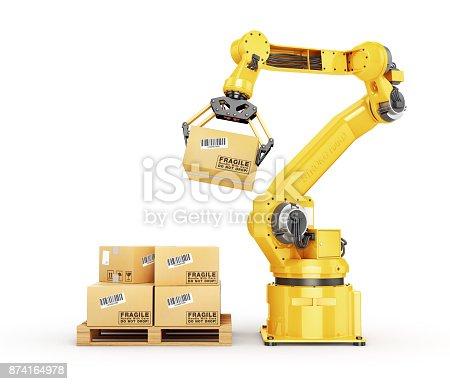 istock Factory manipulator. Automatic hand hold the cardboard box above conveyor 874164978