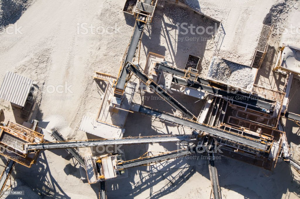 Factory of aggregates for construction stock photo