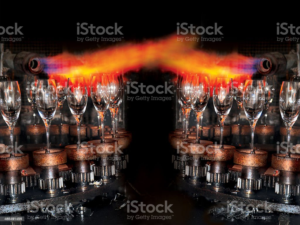 Factory of glasss production stock photo
