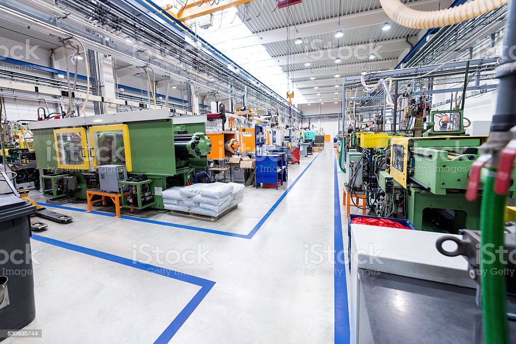 Factory of plastic production stock photo
