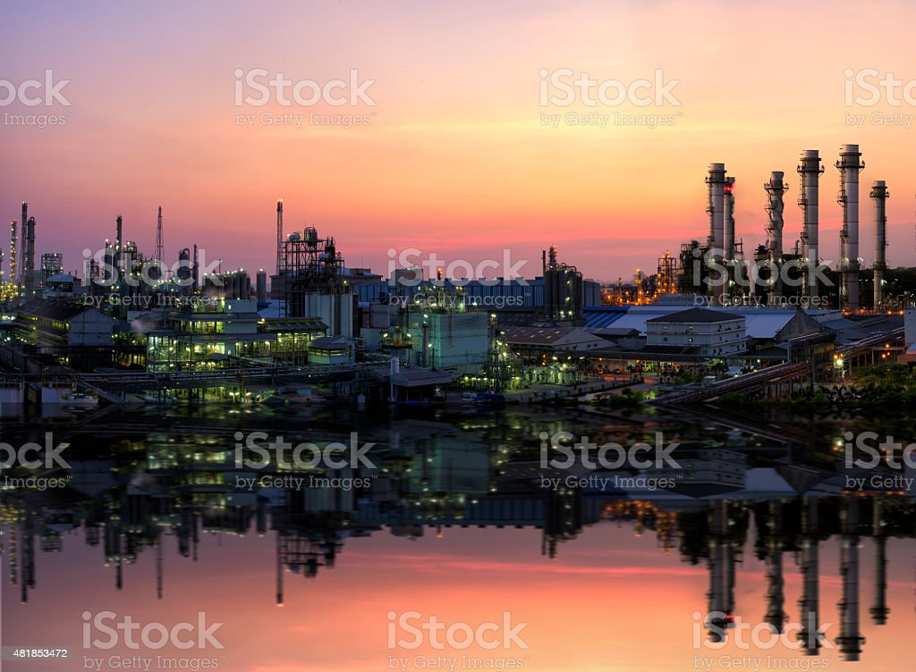 factory oil ,power and petroleum  refining industry stock photo