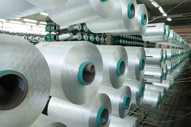 Factory on manufacture of threads stock photo