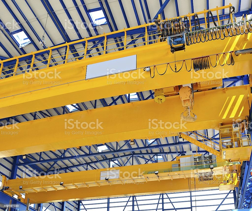 Factory overhead crane stock photo
