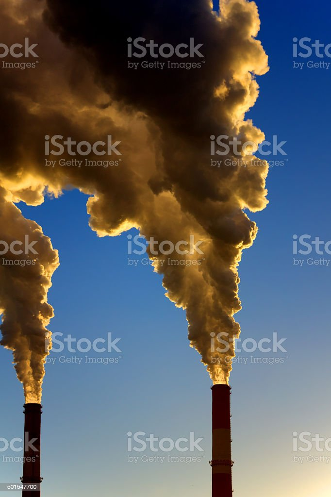 Factory pipe. Pollution. stock photo
