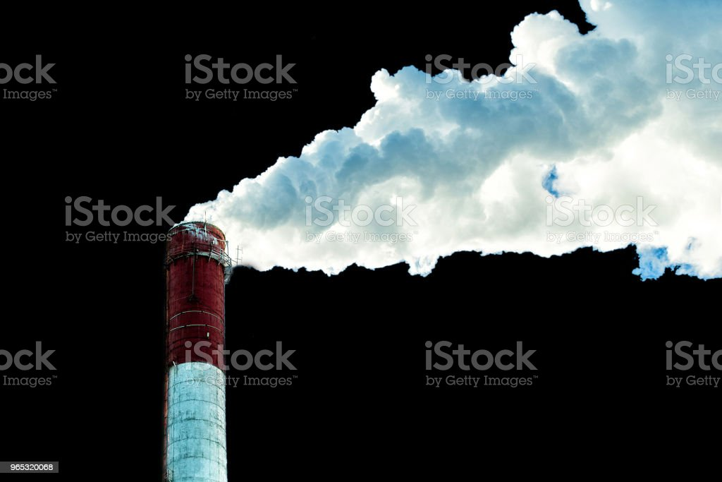 Factory plant smoke stack over black background. Energy generation and air environment pollution industrial scene. zbiór zdjęć royalty-free