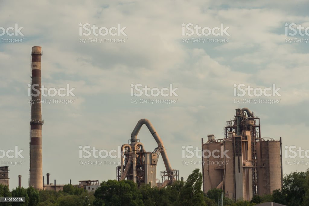 Factory. Pollution of the environment. stock photo