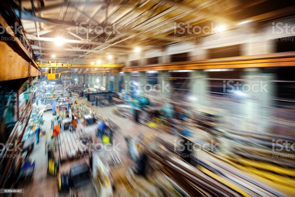 Factory shop. Abstract industrial background, motion blur effect stock photo