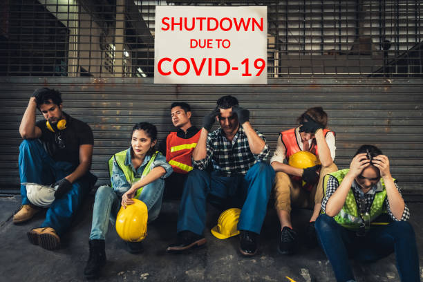 factory shutdown due to outbreak of coronavirus disease 2019 or covid-19. - unemployment stock pictures, royalty-free photos & images