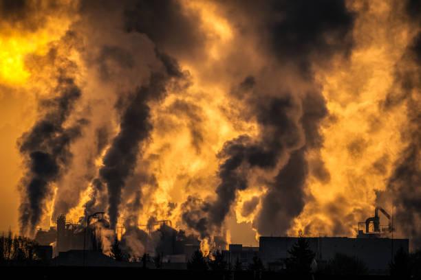 Factory steam smoke stock photo