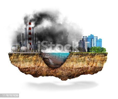 istock Factory. The concept of global disaster. Earth with geological soil cross section, 3D illustration 1176767639