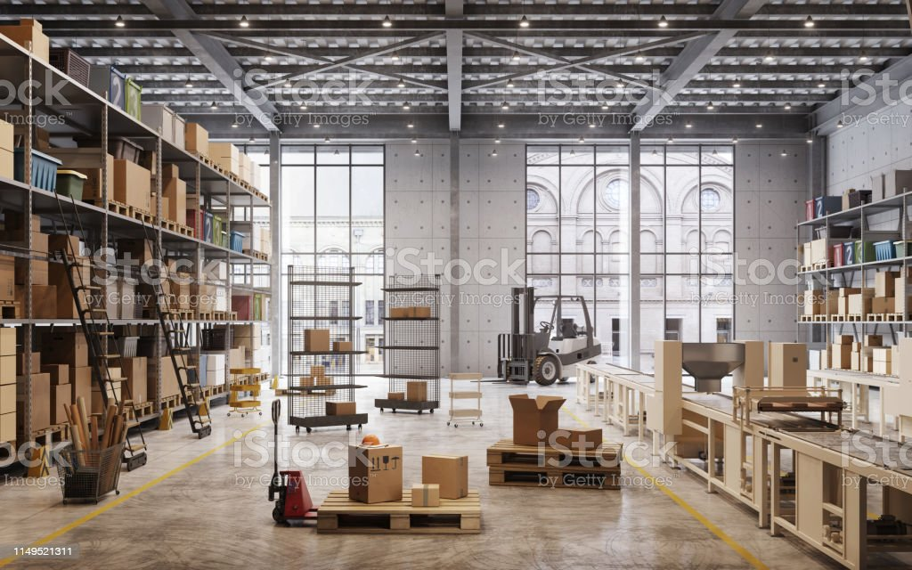 Factory warehouse interior - Royalty-free Box - Container Stock Photo