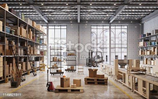 Shelves with goods boxes in modern industry warehouse store. Digitally generated image of factory warehouse interior.