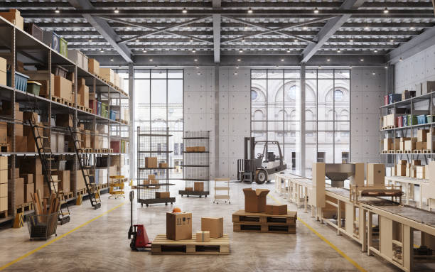 Factory warehouse interior stock photo