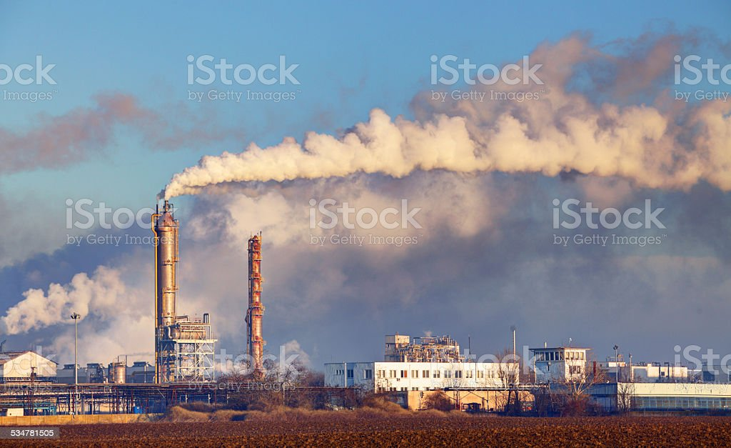 Factory with air pollution stock photo