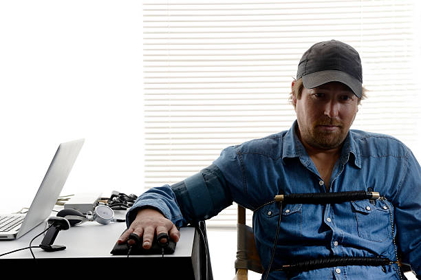 Factory worker tested by polygraph stock photo