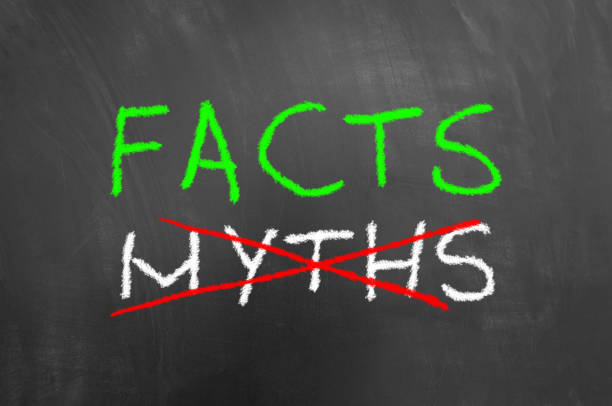facts and crossed myths text on blackboard or chalkboard - information equipment stock photos and pictures