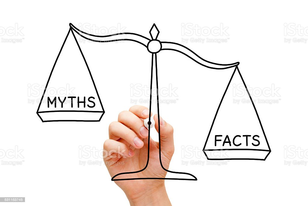 Facts Myths Scale Concept stock photo