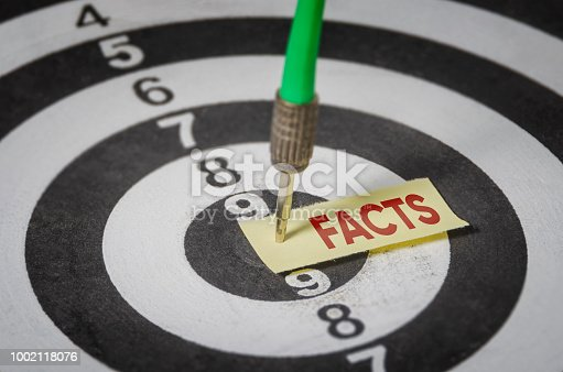 Facts note on notepaper with dart arrow and dart board. Marketing, advertisement, business concept.
