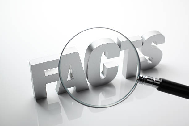 Facts Looking through magnifying glass to block letter word - FACTS.Similar images - information equipment stock pictures, royalty-free photos & images