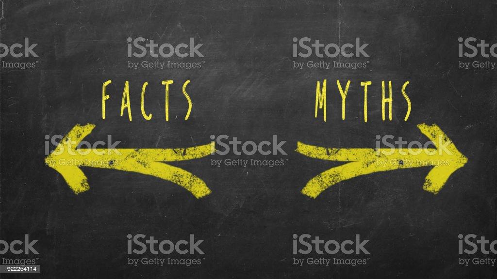 Fakta vs myter bildbanksfoto