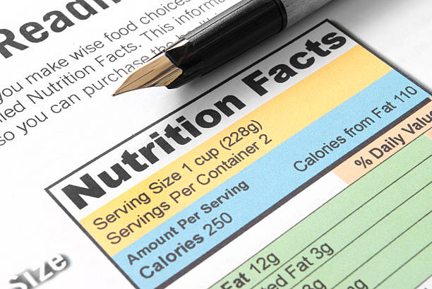 A factsheet about nutrition with a fountain pen on top stock photo