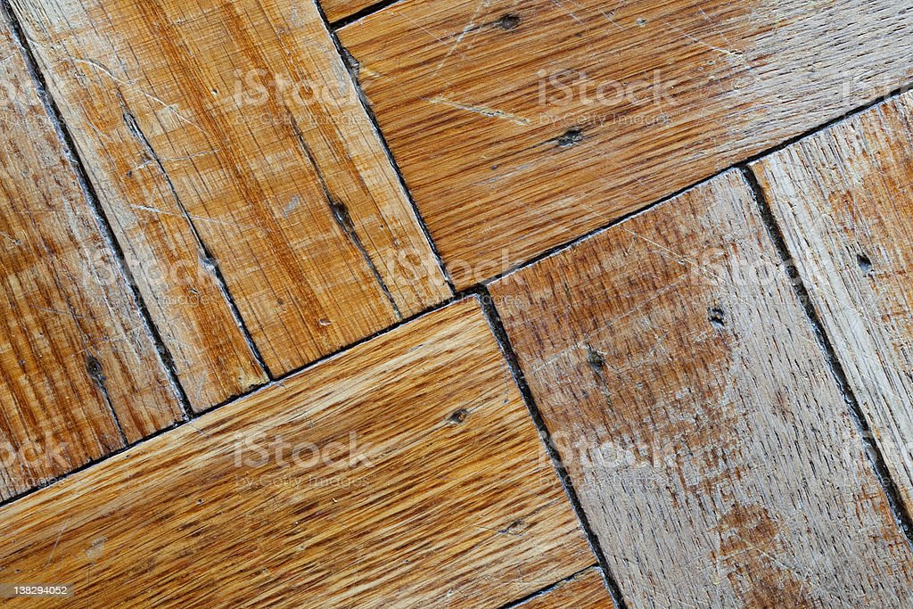 Faded and Scuffed Wood Floor (landscape view) stock photo