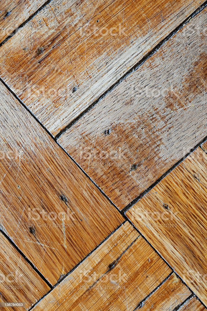 Faded and Scuffed Wood Floor (portrait view) stock photo