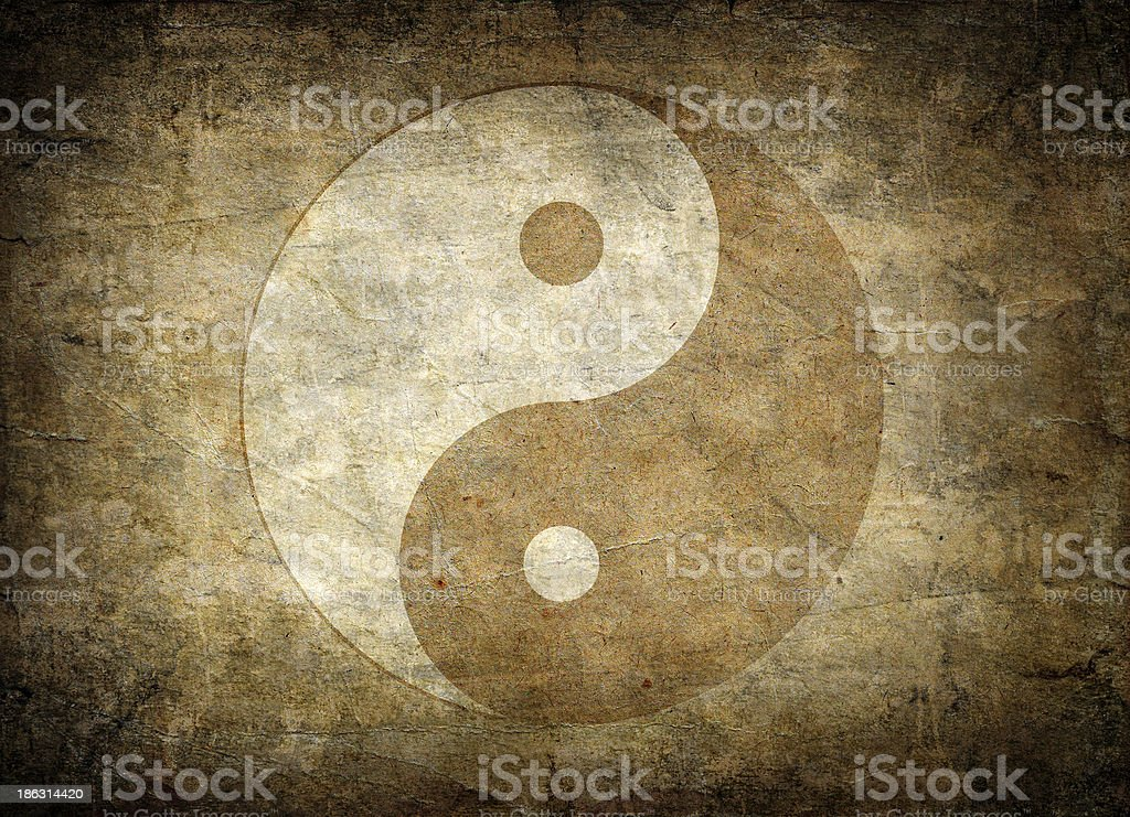 Faded away image of the symbol of balance, yin yang stock photo