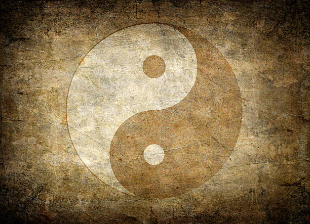 faded away image of the symbol of balance, yin yang - yin yang symbol stock pictures, royalty-free photos & images