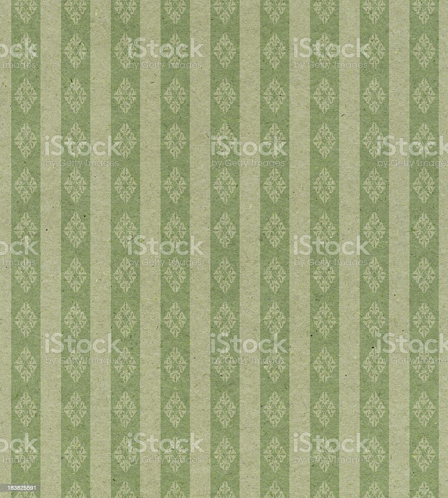 faded green striped paper with ornament royalty-free stock photo