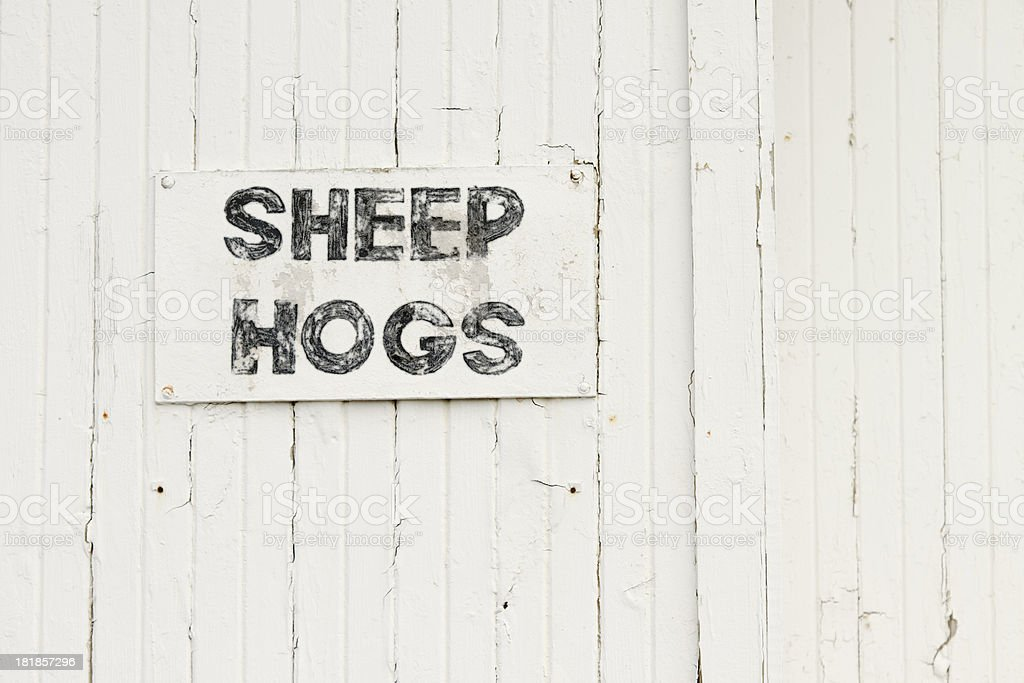 Faded Painted Wooden Amish Auction Barn With Sign: SHEEP HOGS royalty-free stock photo