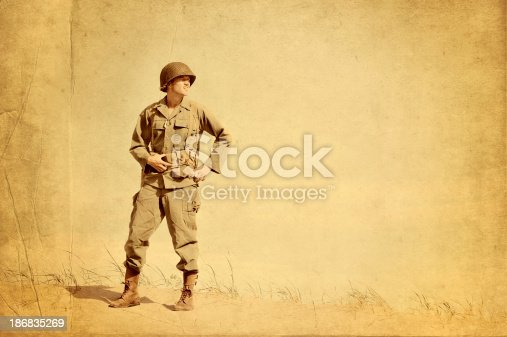 istock Faded Picture of World War II American Infantryman 186835269