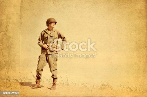 istock Faded Picture of World War II American Infantryman 186835269