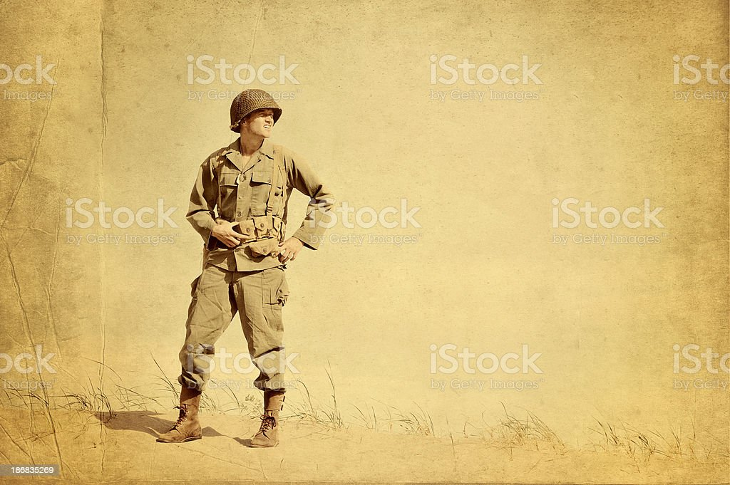 Faded Picture of World War II American Infantryman stock photo