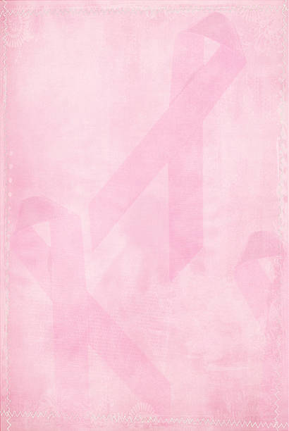 faded pink ribbon - breast cancer awareness 個照片及圖片檔