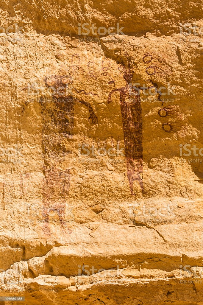 Fading 3000 Year-old Pictograph Panel stock photo