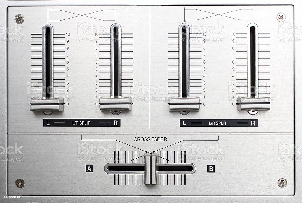 fading controls of dj music mixer royalty-free stock photo