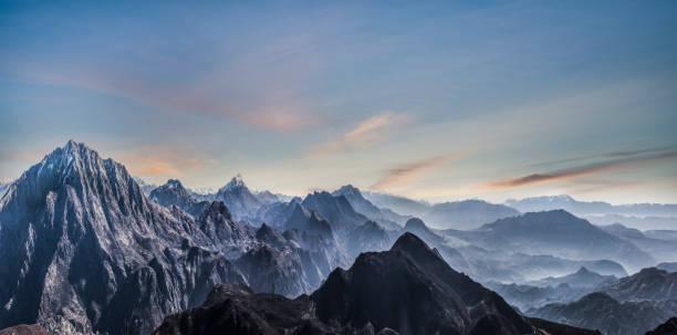 Fading Mountain landscape of Himalayas stock photo