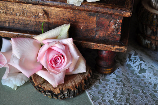 Fading rose and antique box and lace