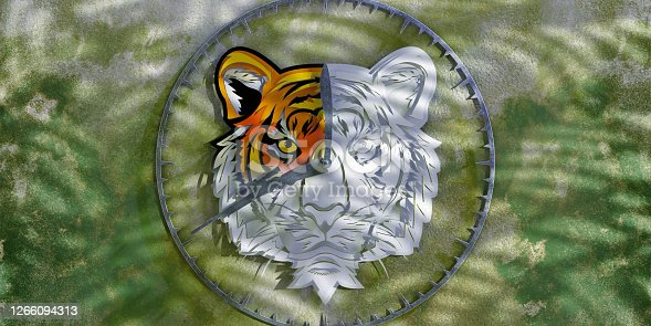 A conceptual image of a clock face made from coloured paper cutouts of a tiger head, from which colour has faded to white as the minute and hour hands of the clock move around. The clock hands are a rifle and machete to represent hunting and habitat destruction.