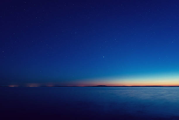 Fading Twilight Deep twilight fades as the stars begin to shine over the Atlantic.  Long exposure. dusk stock pictures, royalty-free photos & images