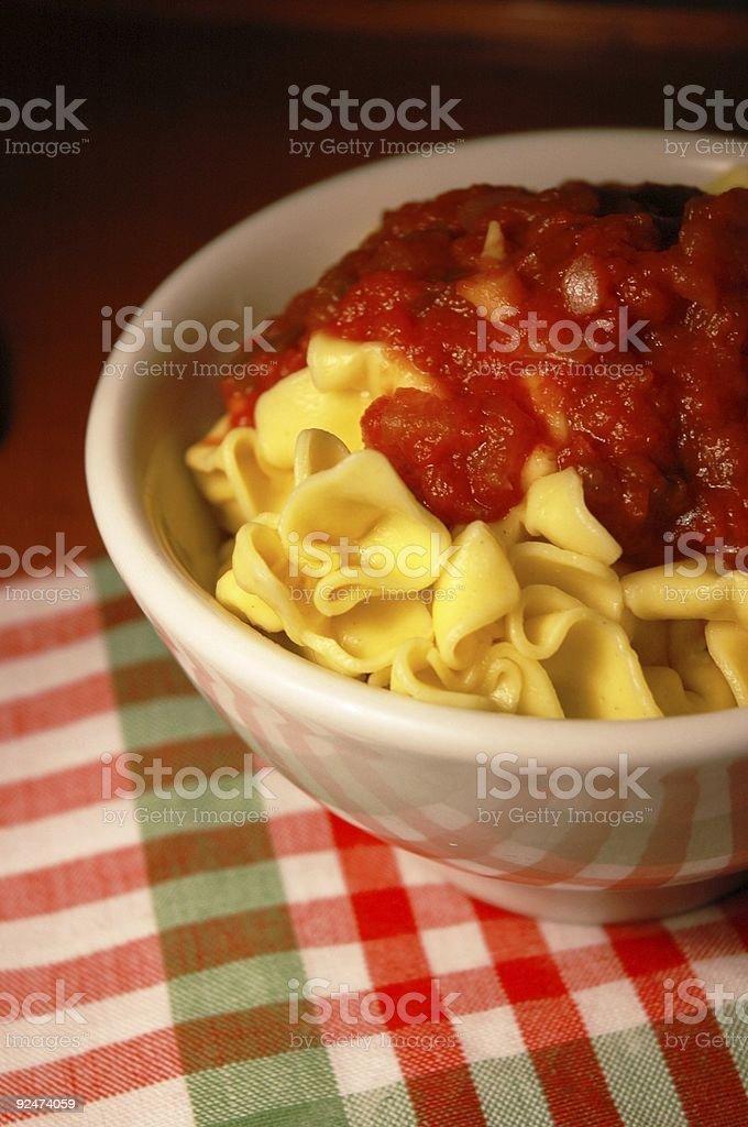 Fagottini pasta with tomato sauce royalty-free stock photo