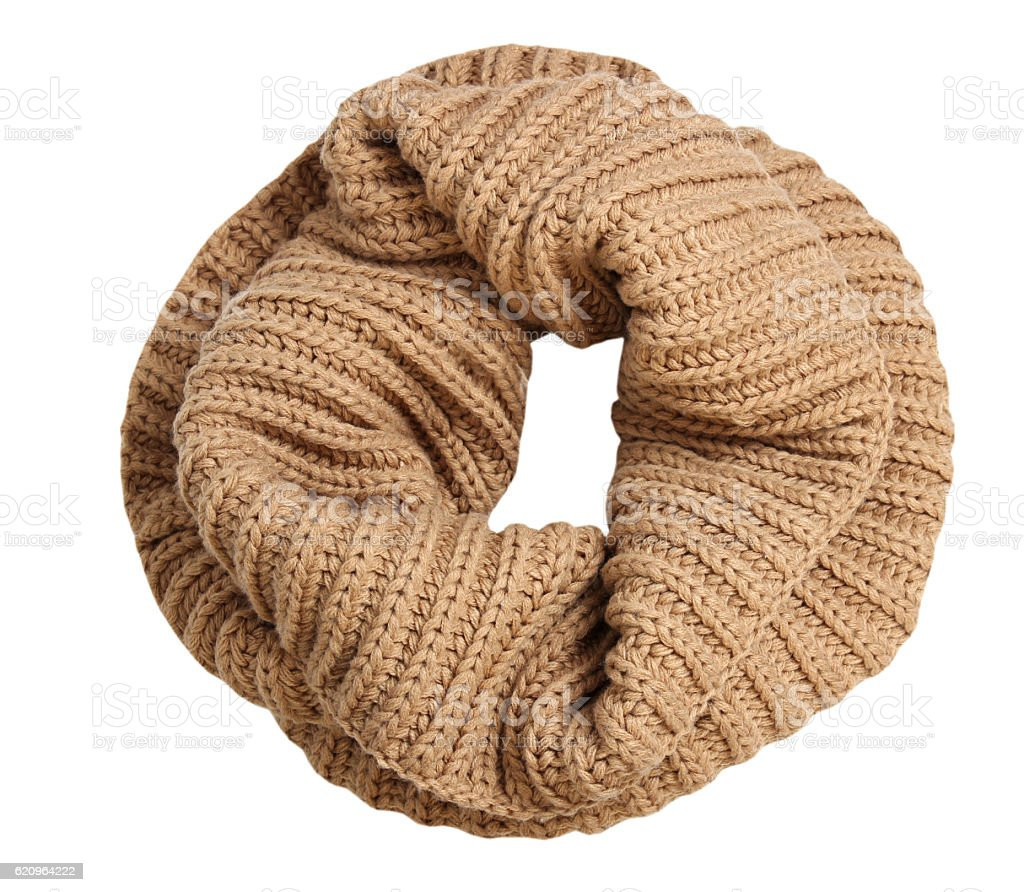 Fahion knitted snood scarf isolated on white. stock photo