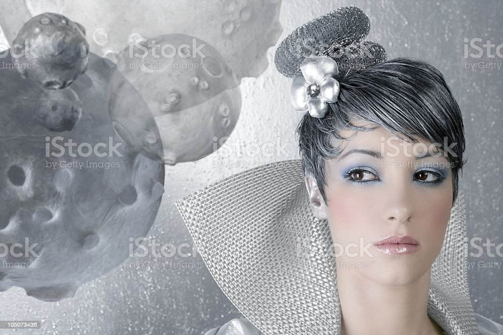 fahion makeup hairstyle woman futuristic silver royalty-free stock photo