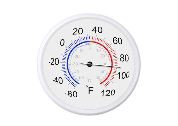 Fahrenheit and celsius scale white round thermometer for measuring weather temperature.  Thermometer isolated on white background. Ambient temperature plus 90 degrees fahrenheit stock photo